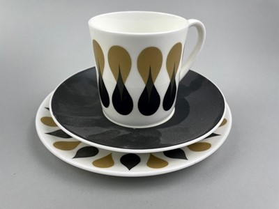 Lot 33 - A SUSIE COOPER DIABLO PATTERN PART COFFEE SERVICE ALONG WITH WEDGWOOD NURSERY WARE