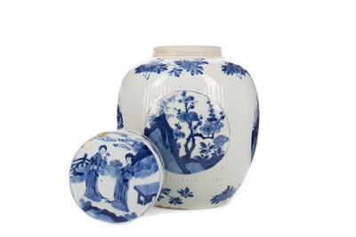 Lot 1728 - AN EARLY 20TH CENTURY CHINESE BLUE AND WHITE GINGER JAR WITH COVER