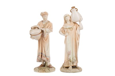 Lot 1096 - A PAIR OF ROYAL WORCESTER 'WATER CARRIER' FIGURES