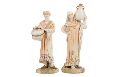 Lot 1102 - A PAIR OF ROYAL WORCESTER 'CAIRO WATER CARRIER'  FIGURES