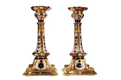 Lot 1100 - A PAIR OF ROYAL CROWN DERBY TABLE CANDLESTICKS