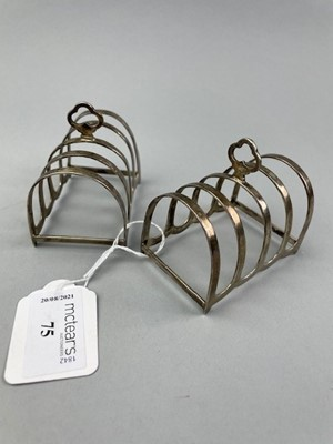 Lot 75 - A PAIR OF SILVER FOUR DIVISION TOAST RACKS