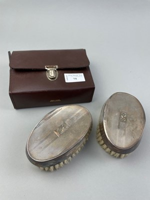 Lot 79 - A PAIR OF GENTLEMAN'S HAIR BRUSHES WITH SILVER BACKS