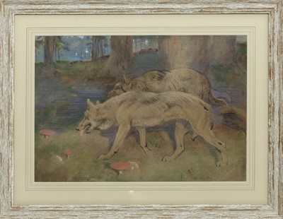 Lot 17 - WOLVES, A PASTEL BY WILLIAM WALLS