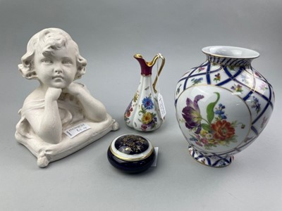 Lot 82 - A PLASTER BUST OF A GIRL AND OTHER CERAMICS