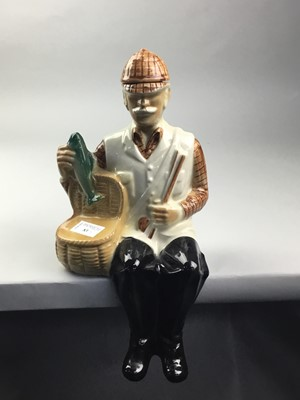 Lot 83 - A BALLANTYNES NOVELTY DECANTER ALONG WITH TWO PLATES
