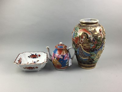 Lot 84 - A JAPANESE VASE AND OTHER JAPANESE CERAMICS
