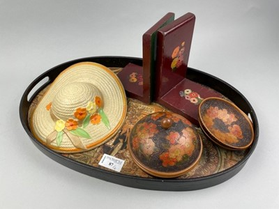 Lot 87 - A WOODEN SERVING TRAY AFTER MUCHA AND OTHER ARTS & CRAFTS ITEMS
