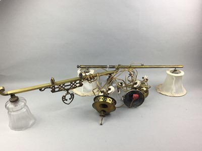 Lot 50 - A LOT OF TWO BRASS AND GLASS LIGHT FITTINGS