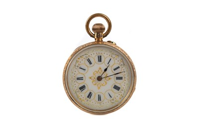 Lot 727 - A GOLD FOB WATCH