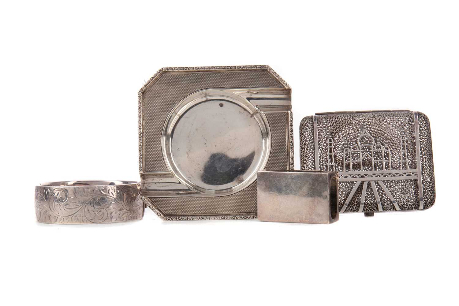 Lot 478 - A GEORGE VI SILVER ASH DISH, ALONG WITH A MATCHBOX HOLDER, BANGLE AND CARD CASE