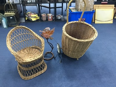 Lot 91 - A WICKER BASKET, ALONG WITH A CHAIR AND A LAMP