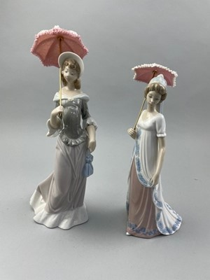 Lot 8 - A LLADRO FIGURE OF A LADY WITH PARASOL ALONG WITH ANOTHER