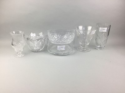 Lot 58 - A WATERFORD CRYSTAL FLOWER FORMED VASE ALONG WITH OTHER CRYSTAL WARE