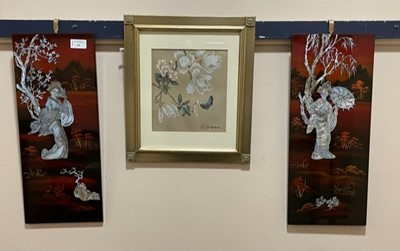 Lot 63 - A PAIR OF 20TH CENTURY JAPANESE LACQUERED AND MOTHER OF PEARL PANELS AND A PAINTING ON SILK