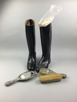 Lot 62 - A PAIR OF LADY'S REGENT RIDING BOOTS AND A WHITE METAL BACKED BRUSH SET