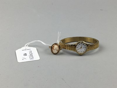 Lot 93 - A CAMEO DRESS RING AND A LADY'S ACCURIST WRIST WATCH