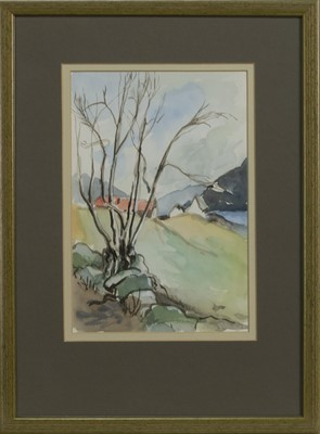 Lot 58 - WOODLAND LANDSCAPE, A WATERCOLOUR BY WENDY WOOD
