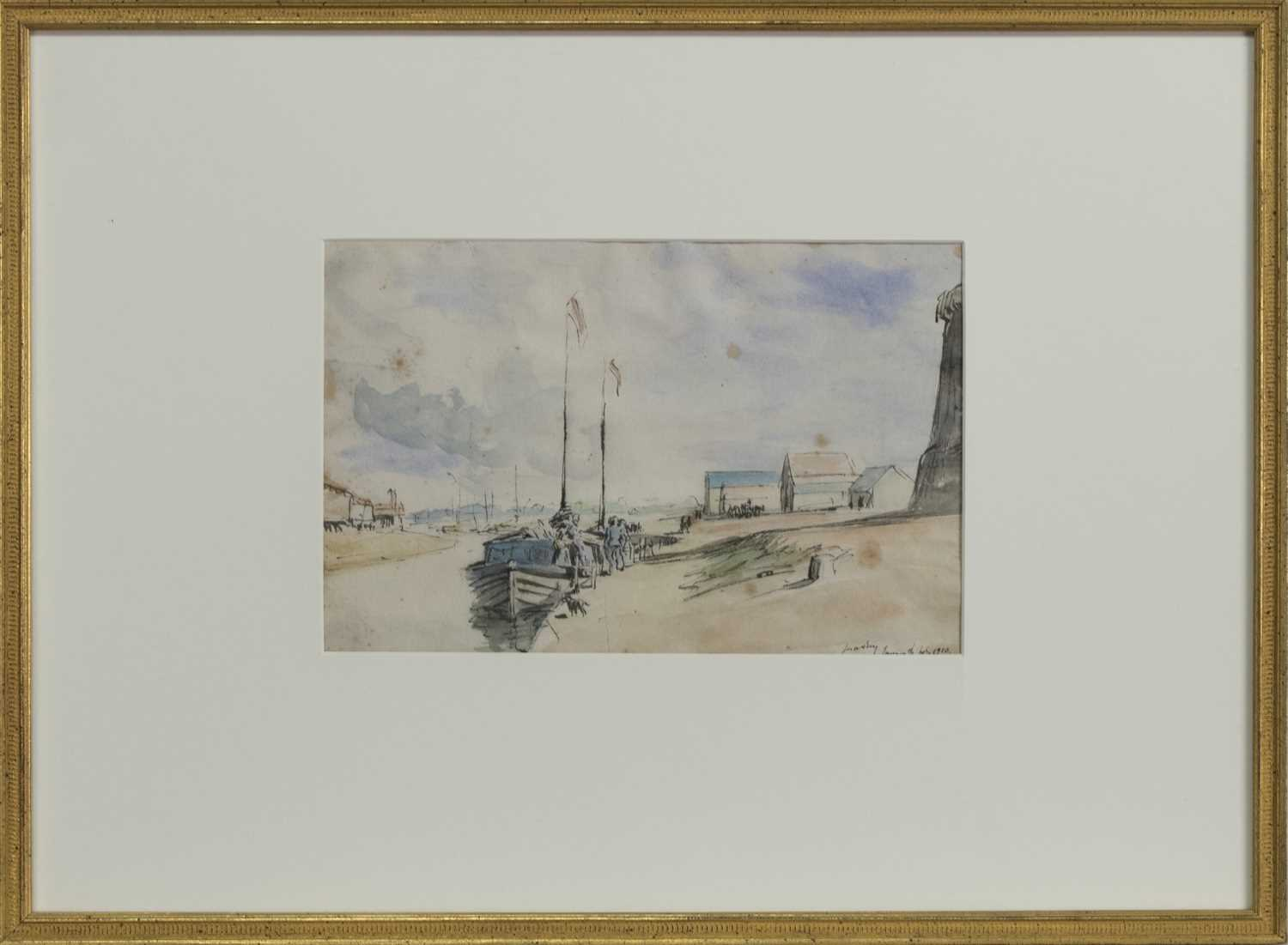 Lot 2036 - YACHT STATION, YARMOUTH, A WATERCOLOUR BY JAMES MCBEY