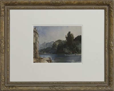 Lot 2039 - ON THE RIVER LOING AT MORET, A WATERCOLOUR BY SIR WILLIAM RUSSELL FLINT