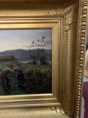 Lot 2042 - HARVEST SUNSET, 1883, AN OIL BY ROBERT MACAULAY STEVENSON