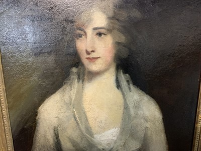 Lot 2043 - PORTRAIT OF A LADY, AN OIL ATTRIBUTED TO SIR HENRY RAEBURN