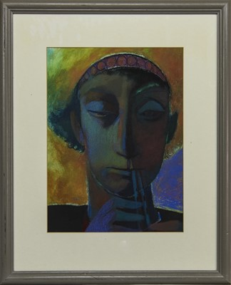 Lot 603 - THE WHISTLE BLOWER, A PASTEL BY NEIL MACDONALD