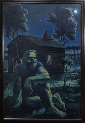 Lot 2044 - THE NIGHT CABIN, A LARGE OIL BY PETER HOWSON