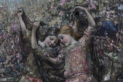 Lot 2020 - GALLOWAY MAIDS AT PLAY, AN OIL BY EDWARD ATKINSON HORNEL