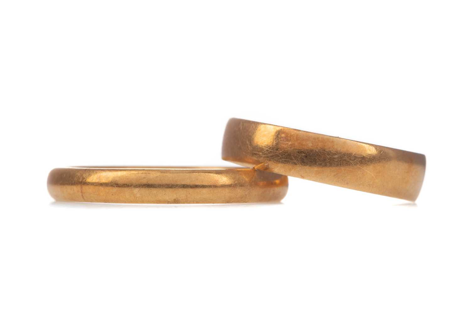 Lot 1340 - TWO WEDDING BANDS