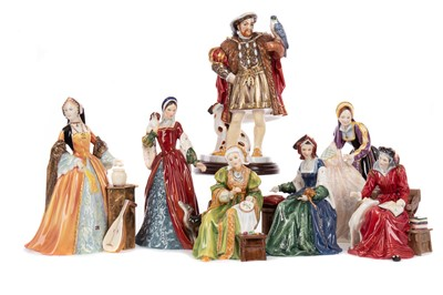Lot 1053 - A SET OF ROYAL DOULTON FIGURES COMPRISING HENRY VIII AND HIS SIX WIVES