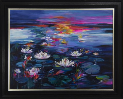 Lot 636 - WATERLILIES NEAR LOCHINVER, AN ACRYLIC BY SHELAGH CAMPBELL