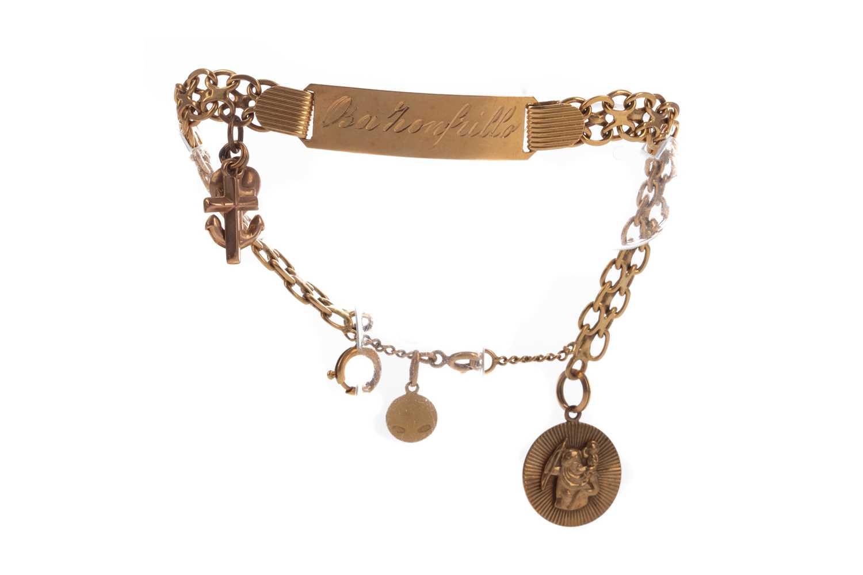 Lot 1311 - A GOLD ID BRACELET