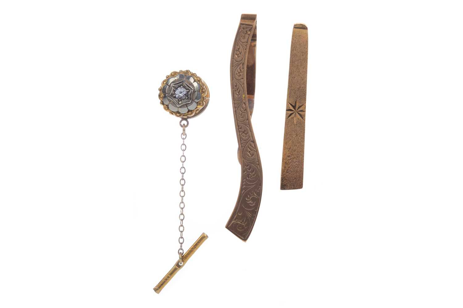 Lot 1322 - TWO TIE SLIDES AND A TIE PIN
