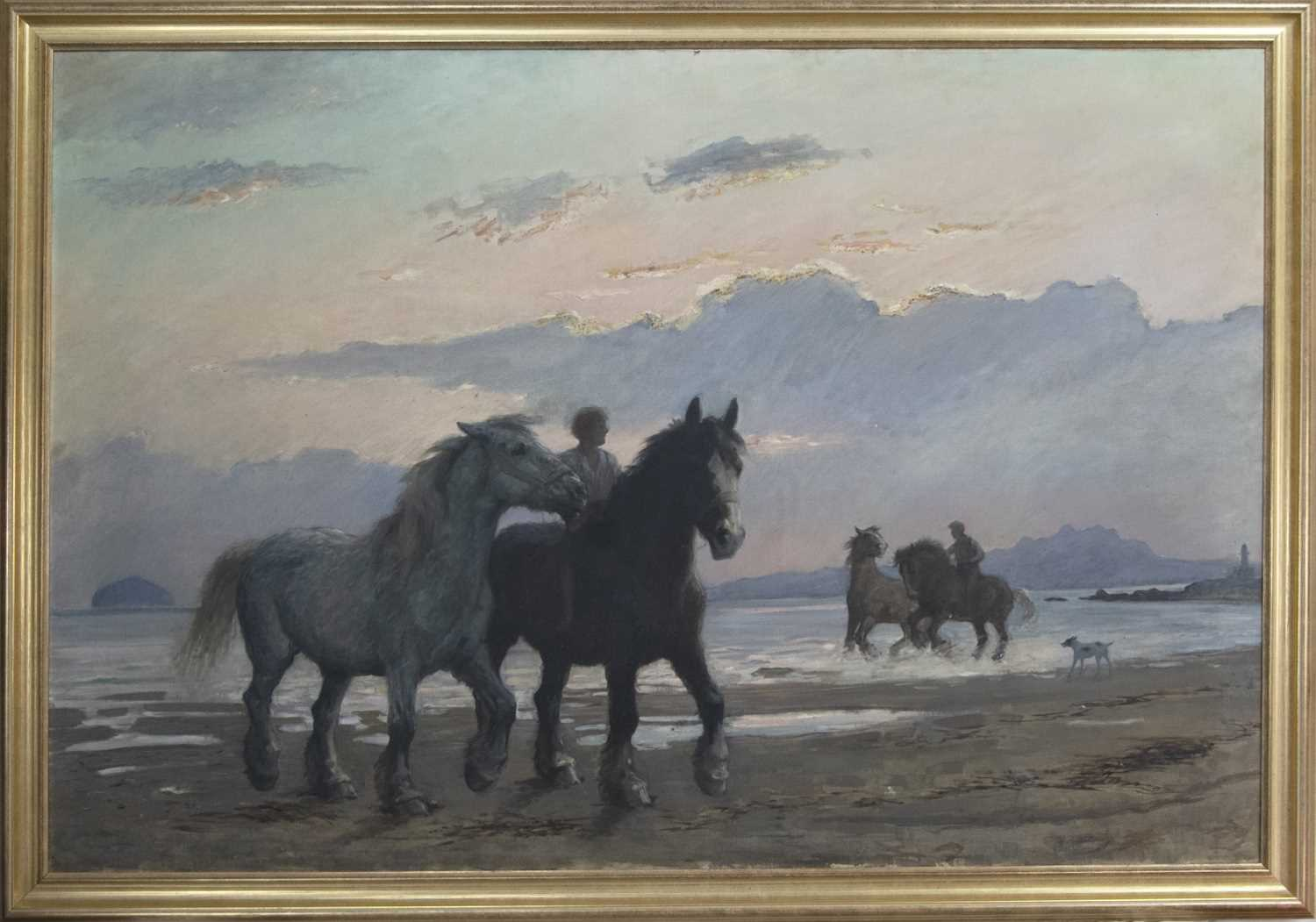 Lot 33 - RIDERS AND HORSES AT THE SHORE, A SCOTTISH SCHOOL OIL