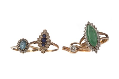 Lot 527 - DIAMOND SOLITAIRE RING, JADE AND DIAMOND RING AND TWO GEM SET RINGS