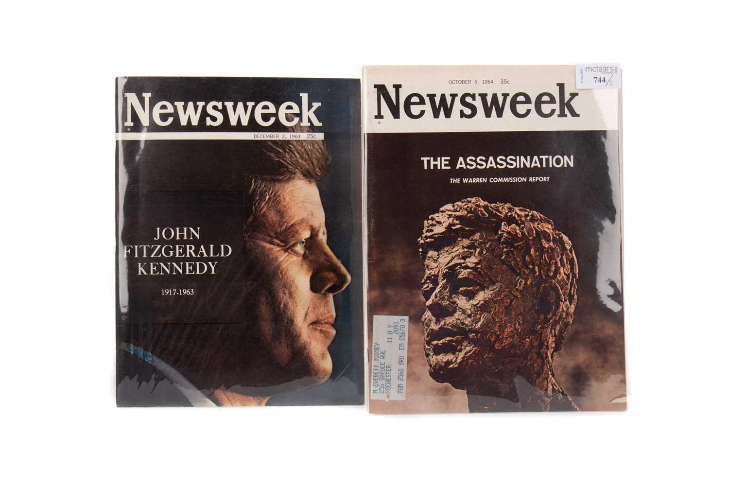 Lot 744 - TWO COPIES OF NEWSWEEK COMMEMORATING THE ASSASSINATION OF JOHN F. KENNEDY