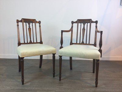 Lot 742 - A REPRODUCTION MAHOGANY DINING TABLE AND EIGHT CHAIRS