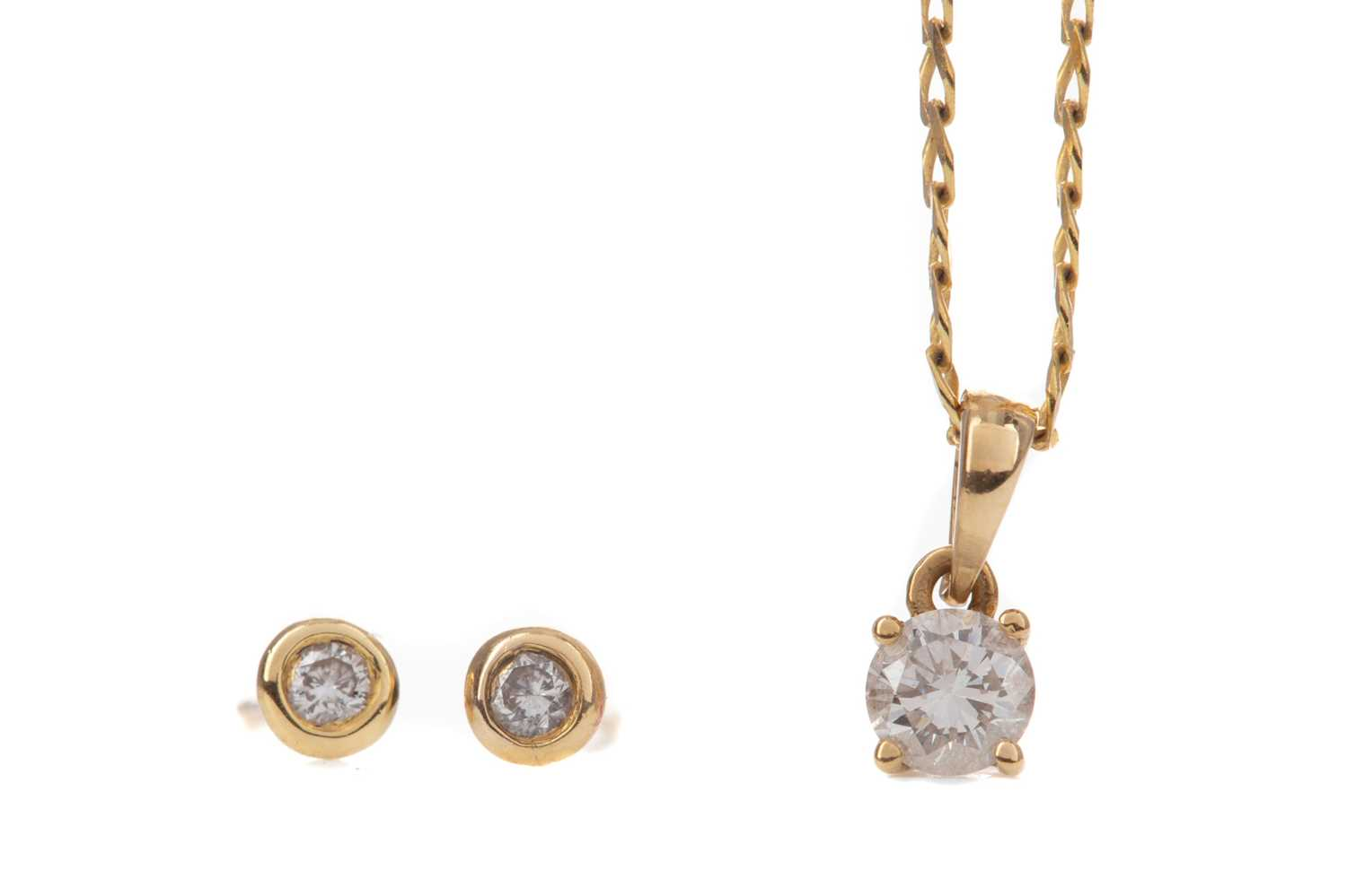 Lot 1336 - A PAIR OF DIAMOND EARRINGS AND A PENDANT