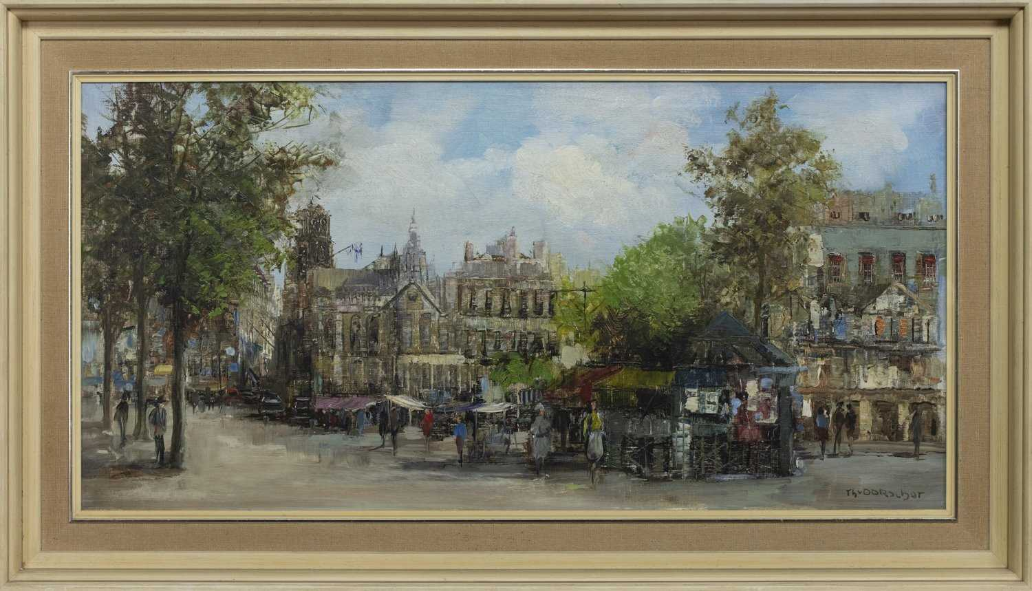 Lot 37 - CATHEDRAL SQUARE, AN OIL BY THEO VAN OORSHOT