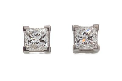 Lot 1345 - A PAIR OF DIAMOND EARRINGS