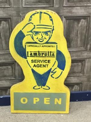 Lot 8 - A 'LAMBRETTA SERVICE AGENT' ADVERTISEMENT BOARD