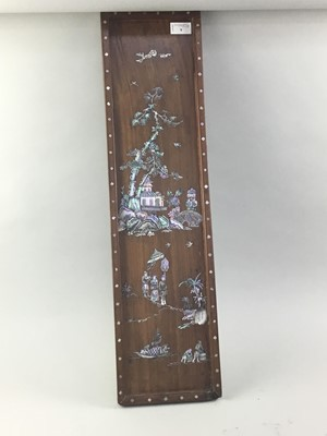 Lot 9 - A CHINESE MOTHER OF PEARL INLAID PANEL