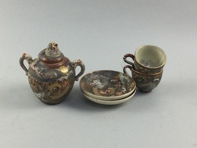 Lot 13 - A PAIR OF JAPANESE SATSUMA CUPS AND SAUCERS