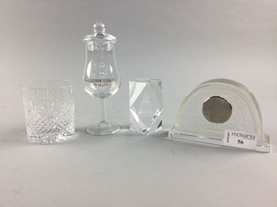 Lot 56 - A BACCARAT MANTEL CLOCK, A SPIRIT GLASS AND PAPERWEIGHT