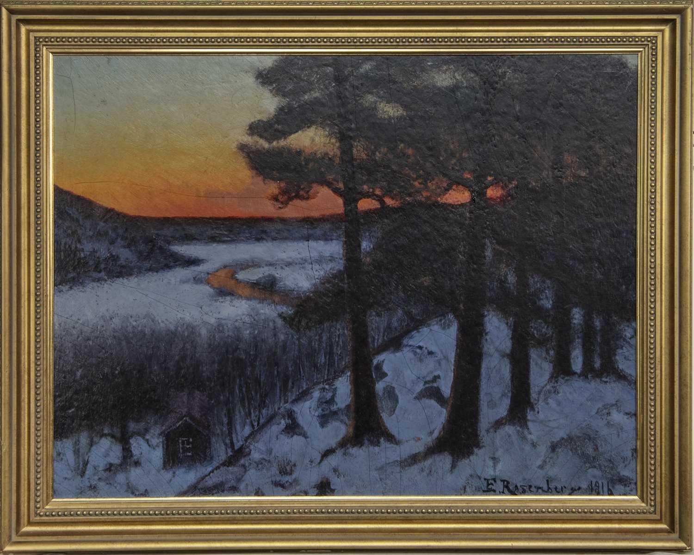 Lot 39 - WINTER SUNSET, AN OIL BY EDVARD ROSENBERG