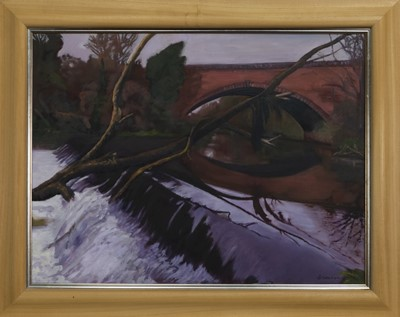 Lot 492 - THE WEIR, AN OIL BY VAL ATKINSON