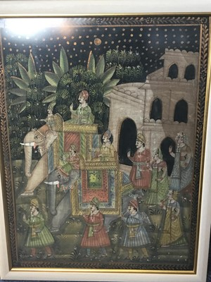 Lot 36 - AN INDIAN SILK PAINTING