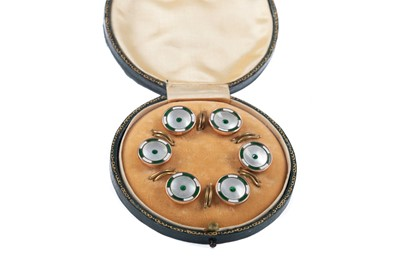 Lot 785 - A SET OF SIX EDWARDIAN GREEN GEMSTONE AND MOTHER OF PEARL SHIRT STUDS