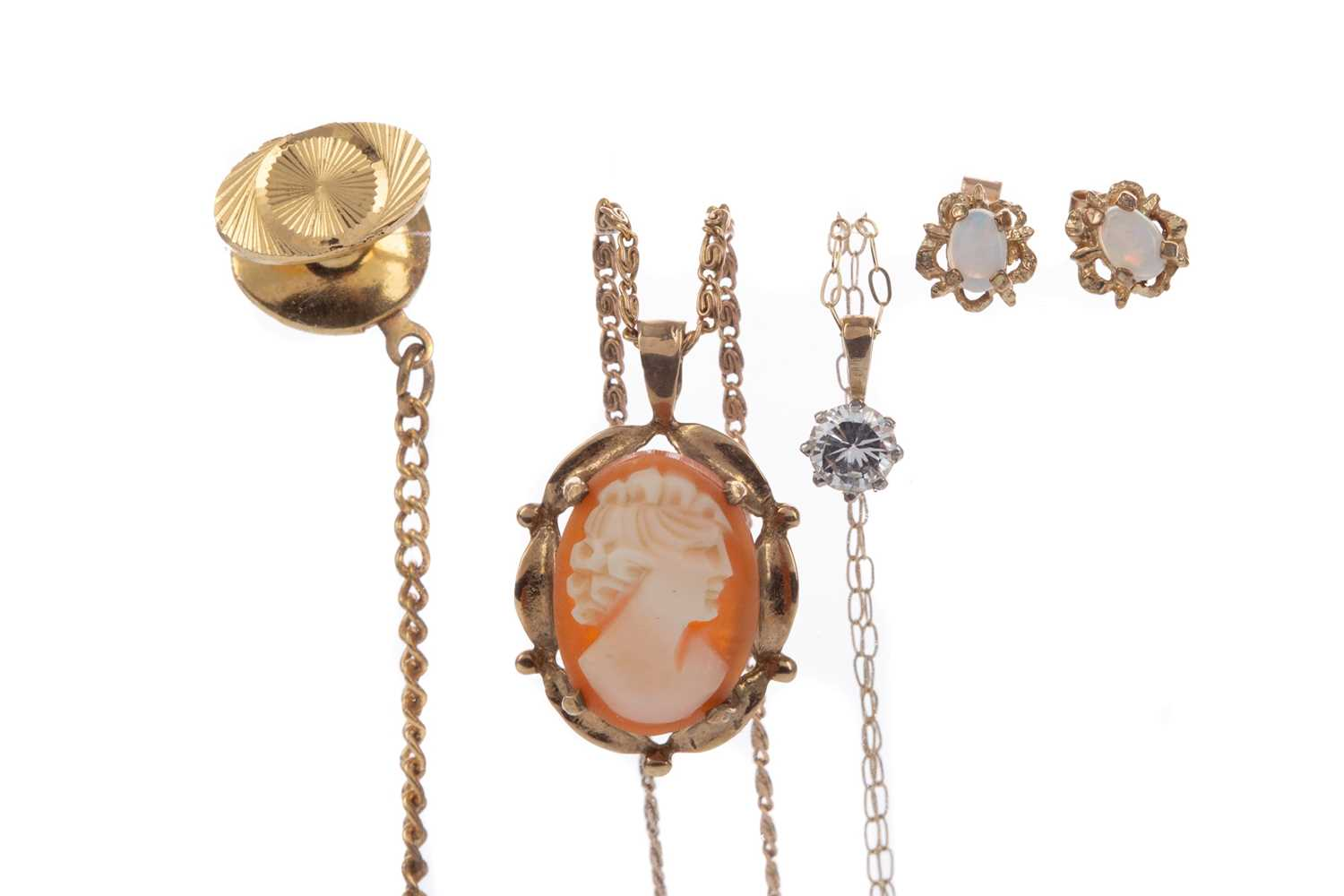 Lot 1352 - A TIE PIN, PAIR OF EARRINGS AND TWO PENDANTS